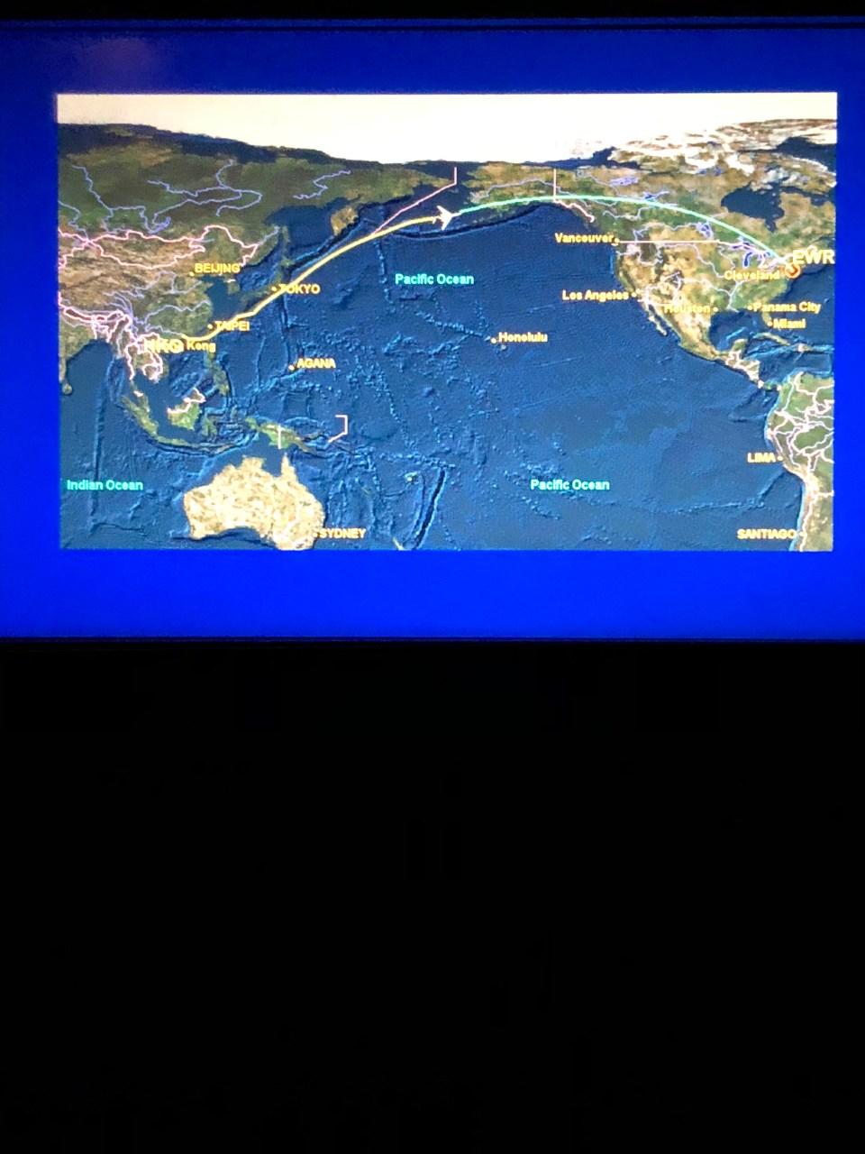 Hong Kong to New Jersey flight map