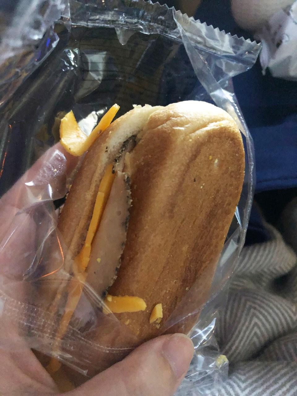 Plane food - ham & cheese sandwich