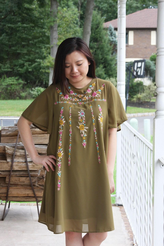 Embroidered Olive Dress 1
