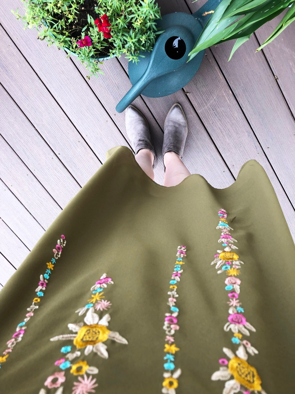 Embroidered Olive Dress 13
