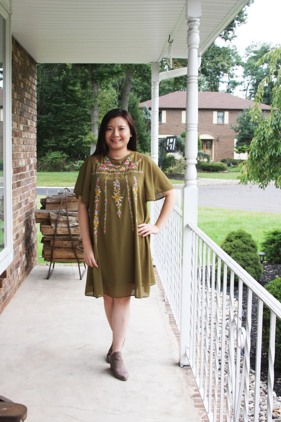 Embroidered Olive Dress 2