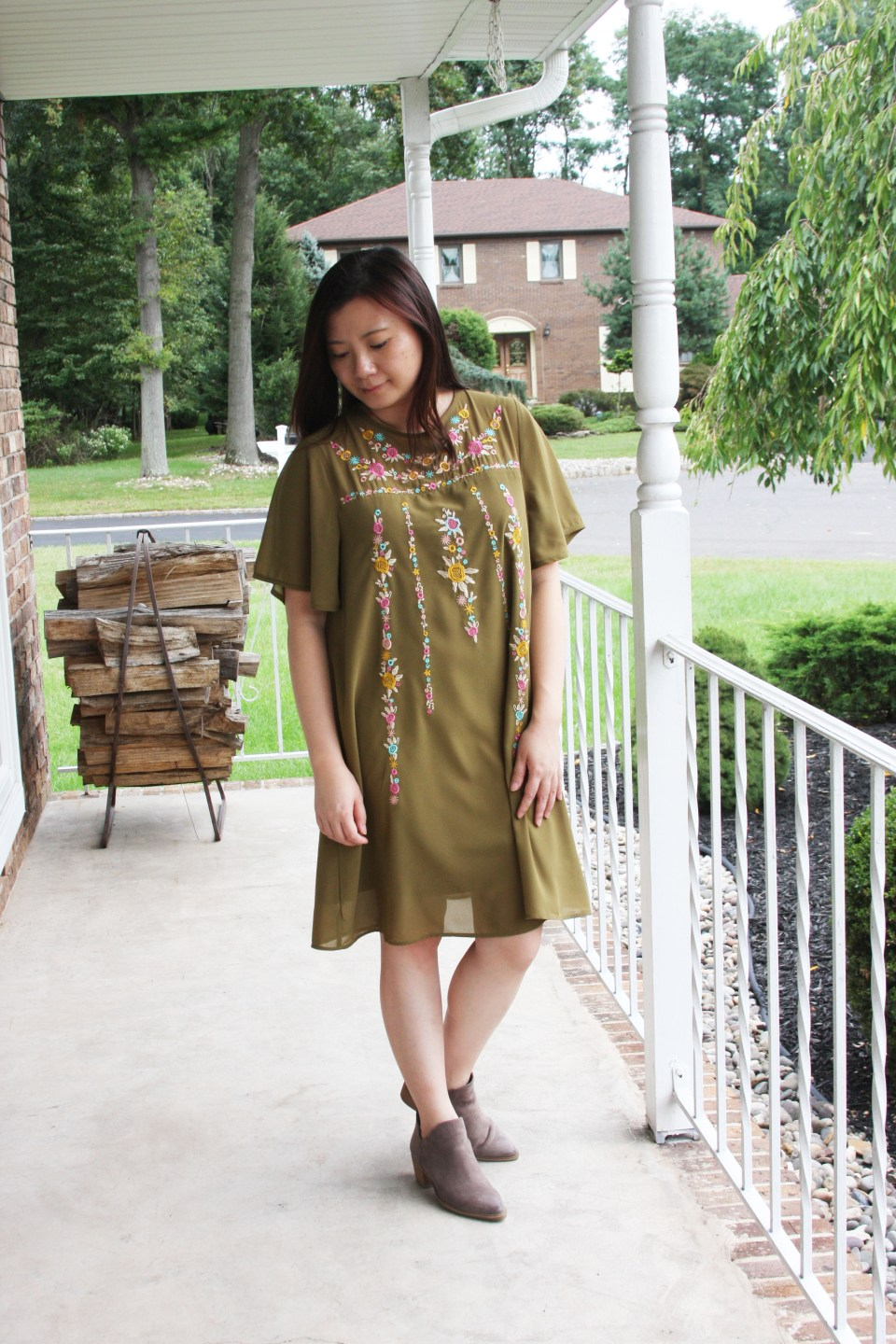 Embroidered Olive Dress 4