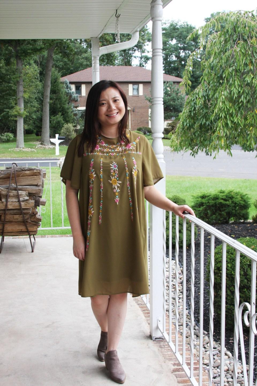 Embroidered Olive Dress 7