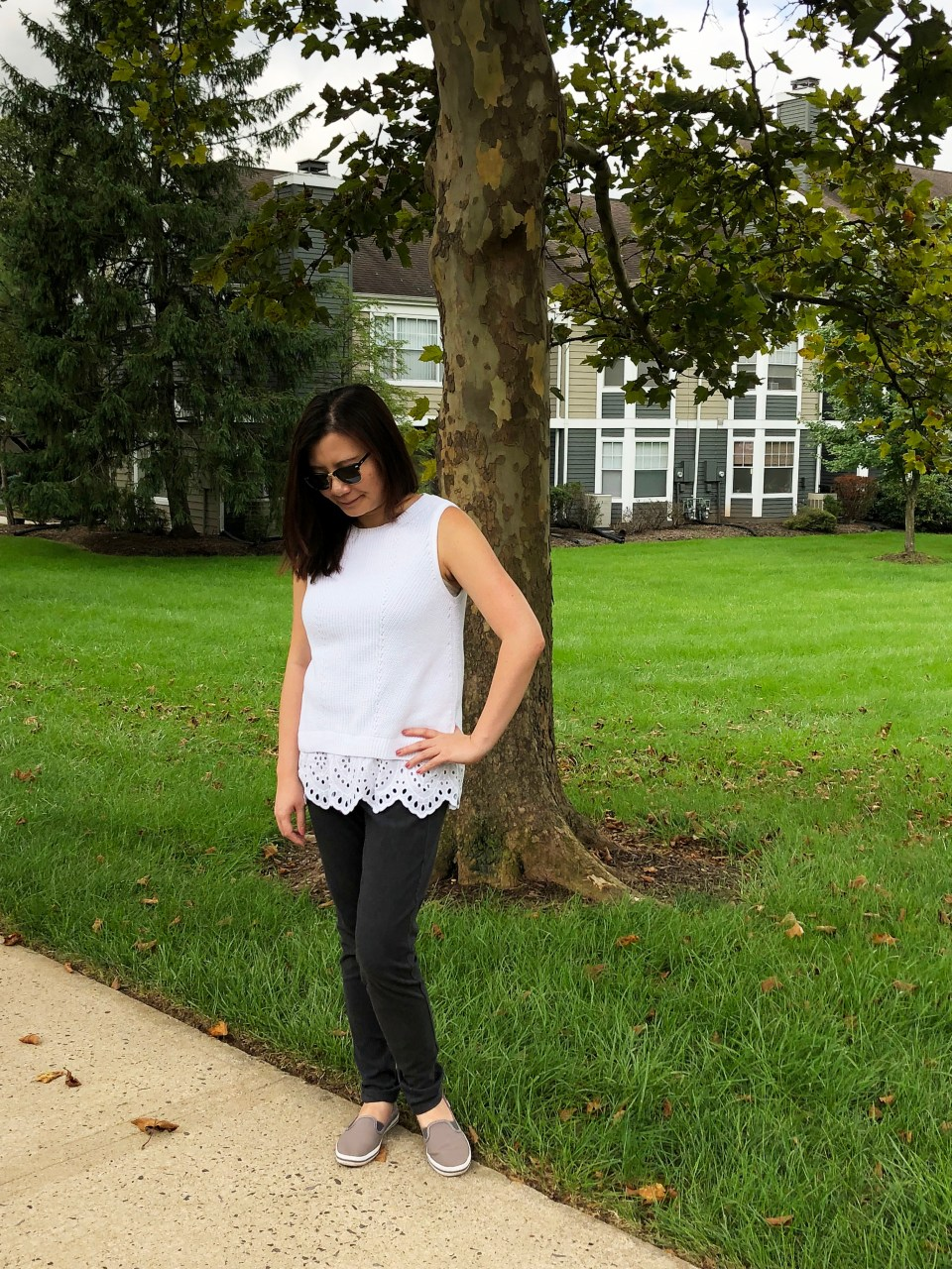 Eyelet Trim Sweater Tank 3