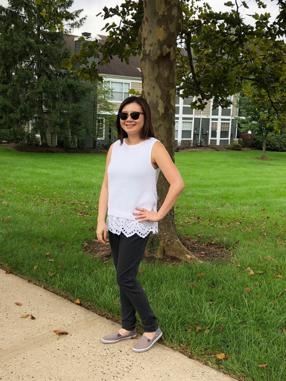 Eyelet Trim Sweater Tank 7