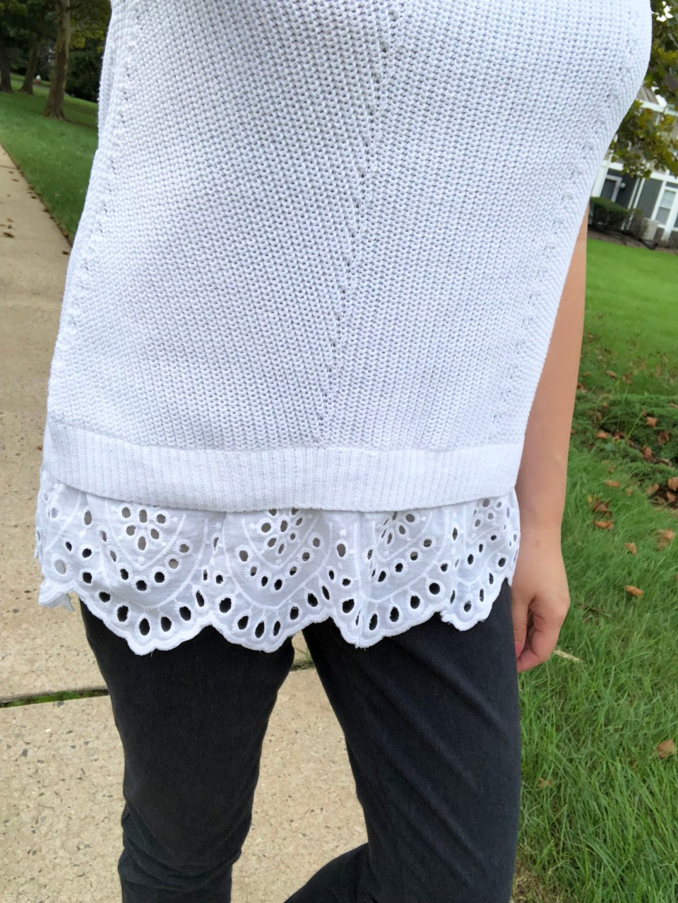 Eyelet Trim Sweater Tank 9