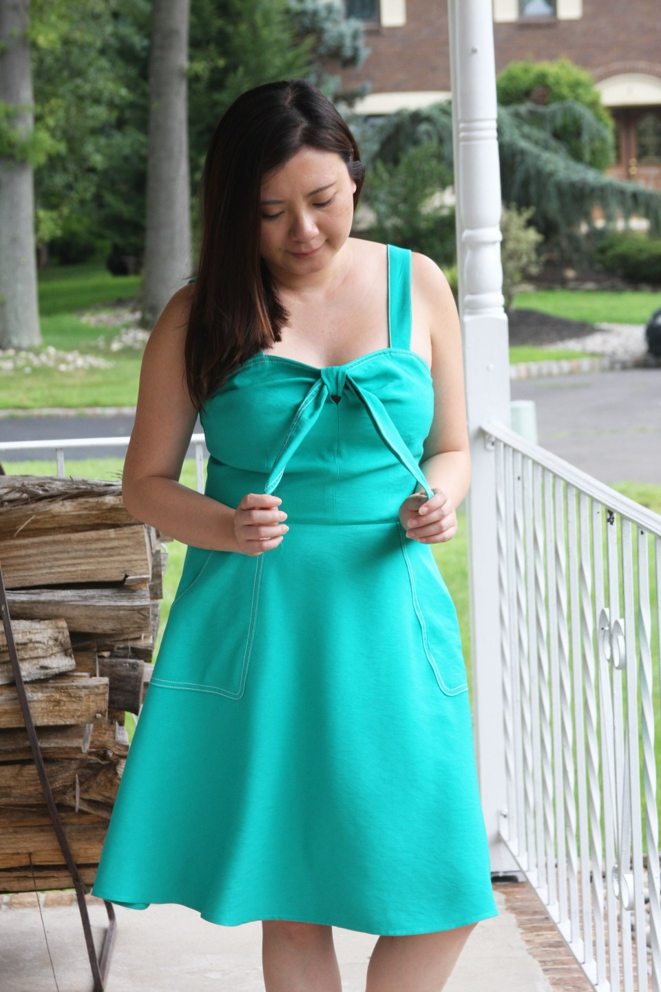 Green Front Tie Dress 6