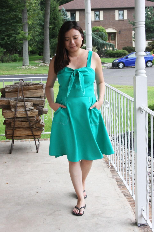 Green Front Tie Dress 7