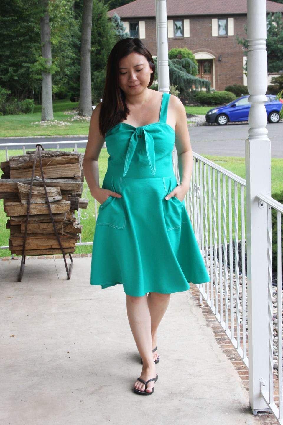 Green Front Tie Dress 7