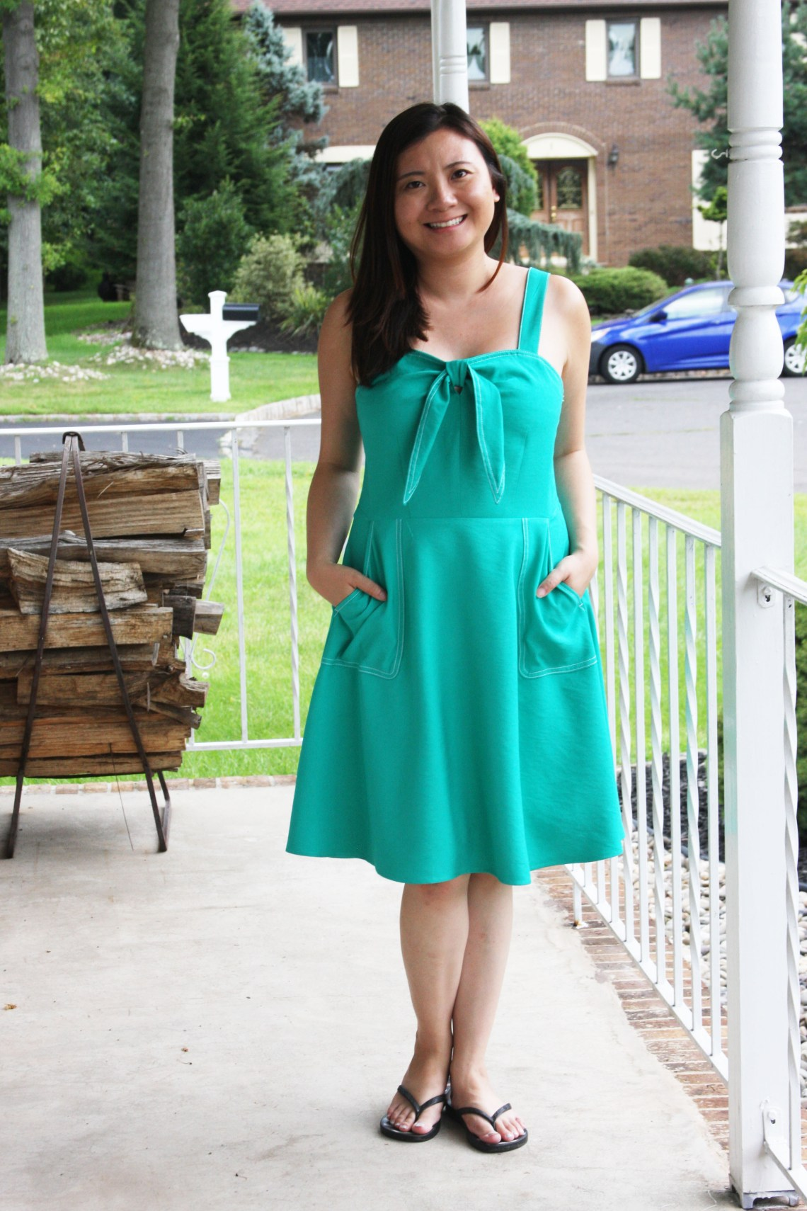 Green Front Tie Dress