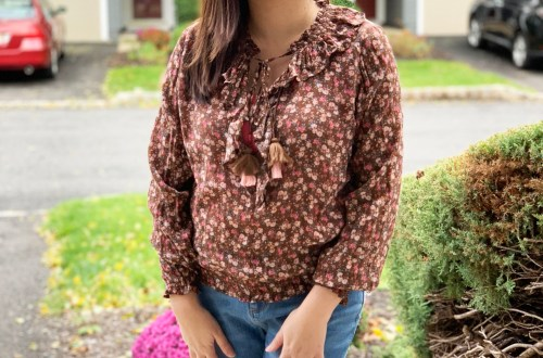 Brown & Pink Floral Top