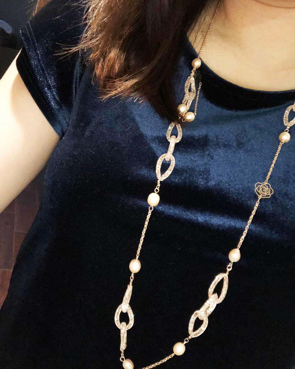 Embellished Necklace + Blue Velvet Top 2