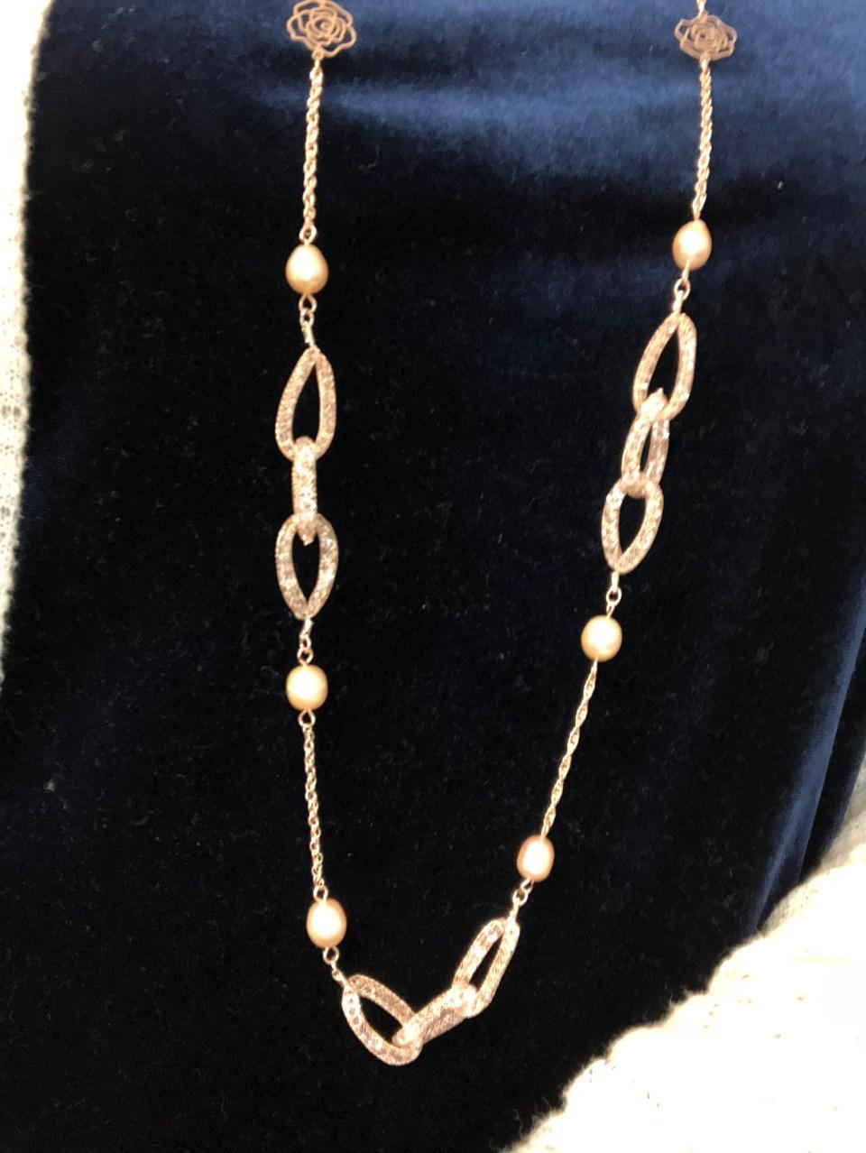 Embellished Necklace + Blue Velvet Top 4