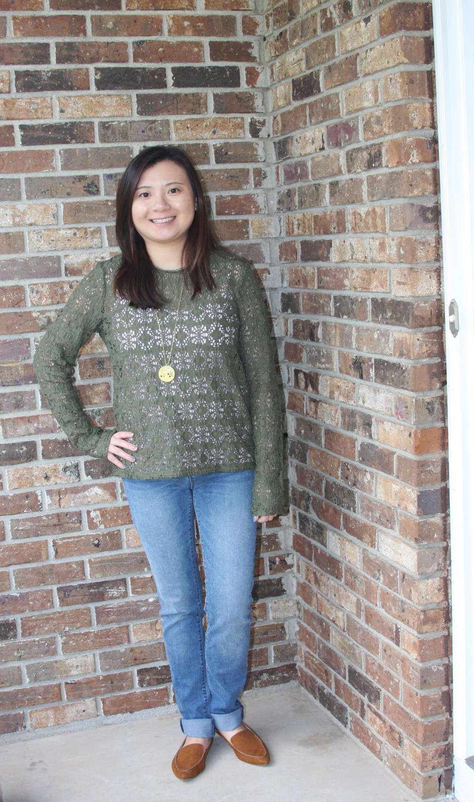 Olive Green Lace Top 1