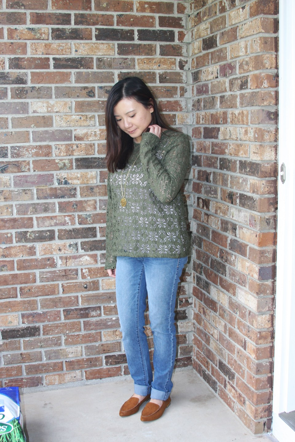 Olive Green Lace Top 2