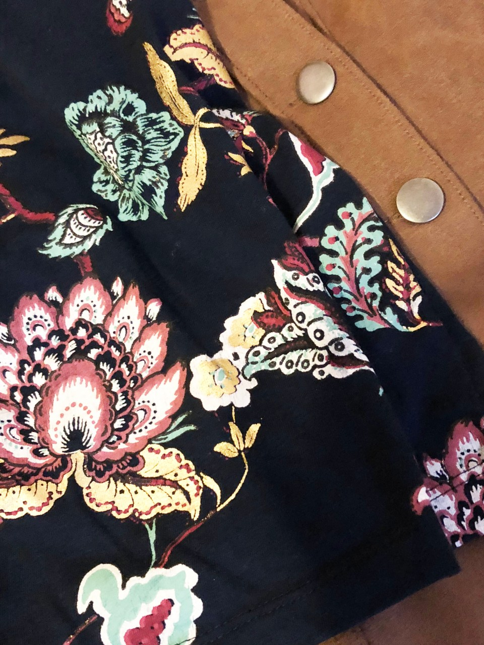 Painted Floral Top + Faux Suede Skirt 12