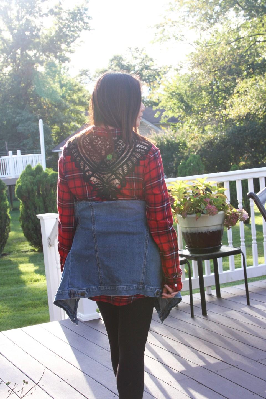 Plaid & Lace Top + Denim Jacket 4