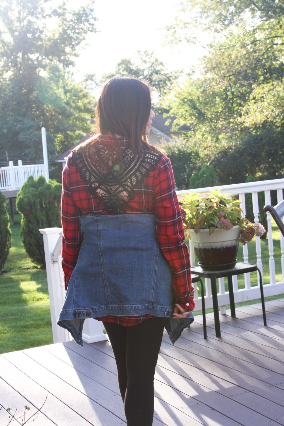 Plaid & Lace Top + Denim Jacket 4