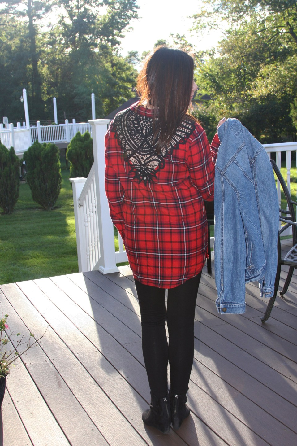 Plaid & Lace Top + Denim Jacket 7