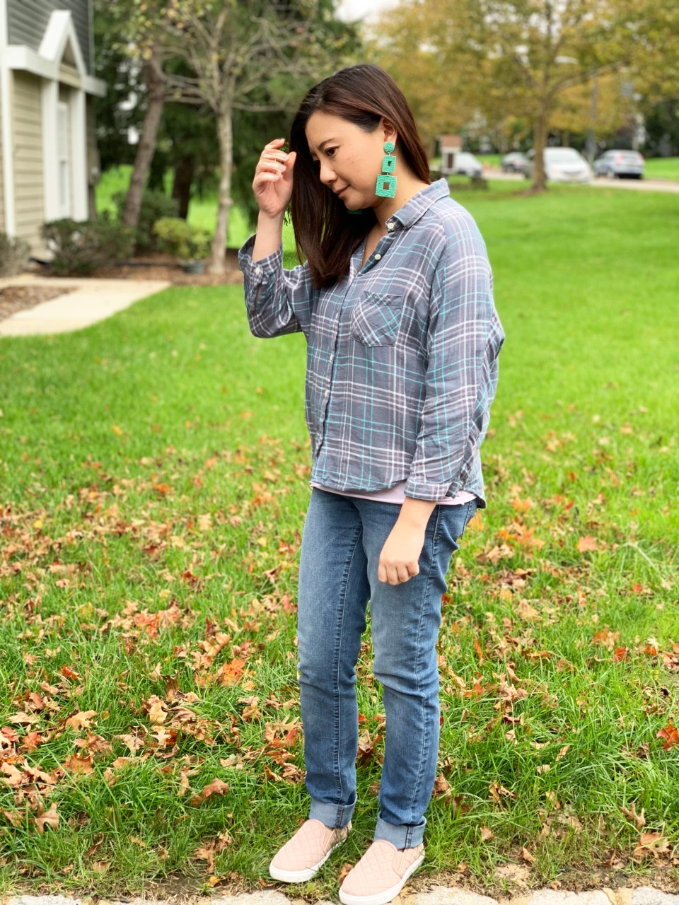 Plaid Top + Mint Statement Earrings 3