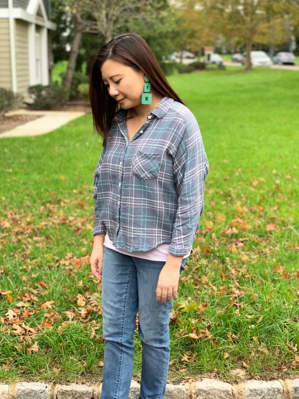 Plaid Top + Mint Statement Earrings 9