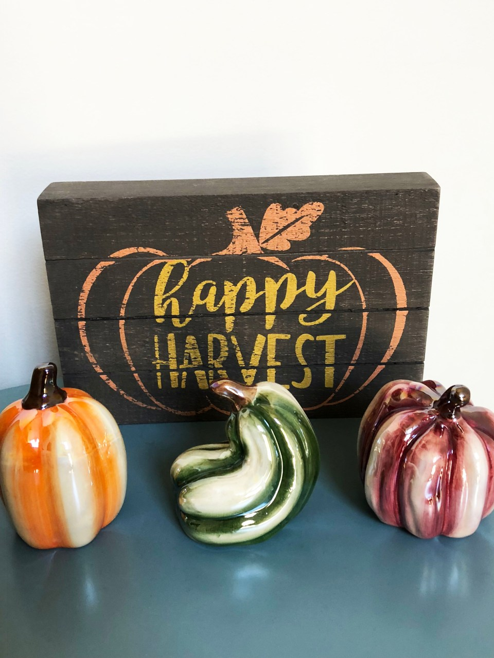 Happy Harvest Sign + Glass Decorations