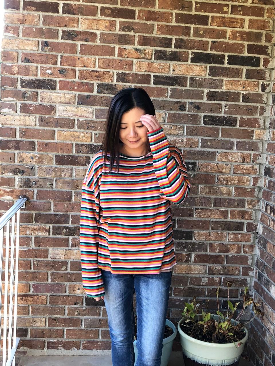 Multicolor Oversized Striped Top 6