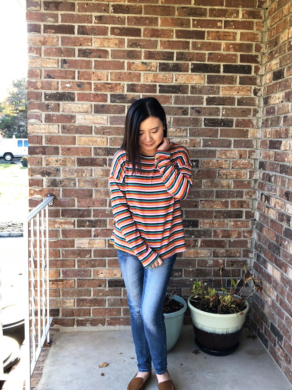 Multicolor Oversized Striped Top 7