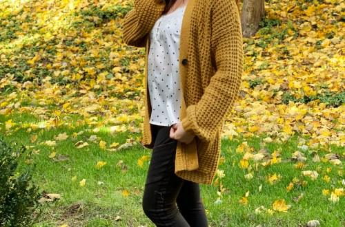 Mustard Waffle Knit Cardigan + Polka Dot Cami
