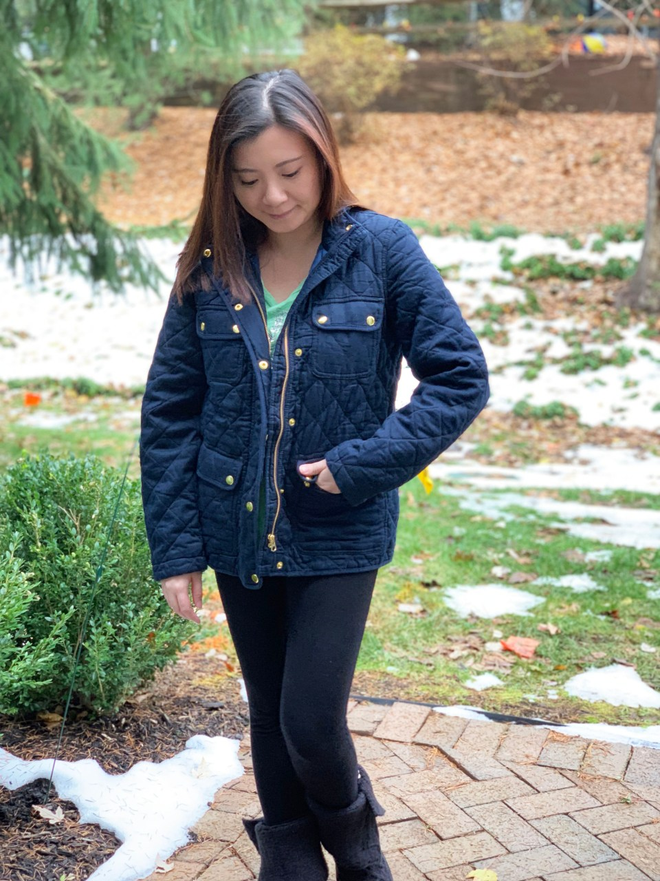 Navy Blue Quilted Jacket 7