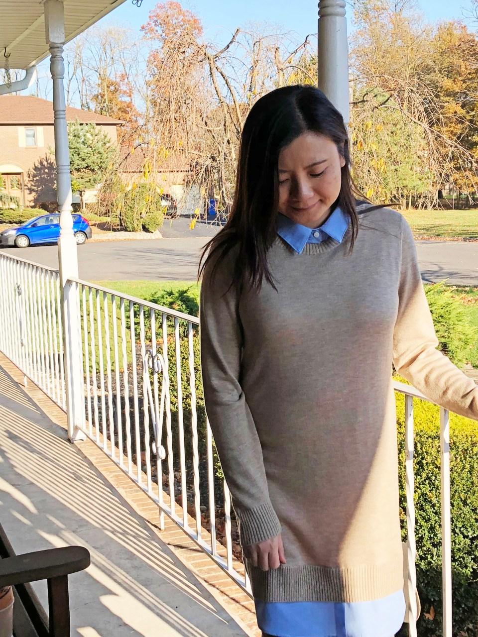 Oxford Blue Shirt Sweater Dress 12