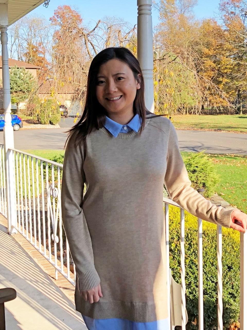 Oxford Blue Shirt Sweater Dress 13