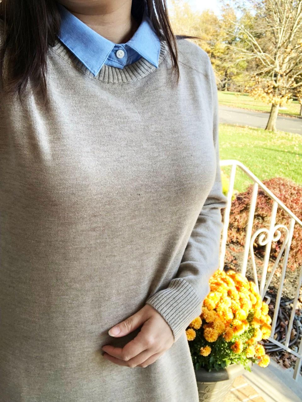Oxford Blue Shirt Sweater Dress 14