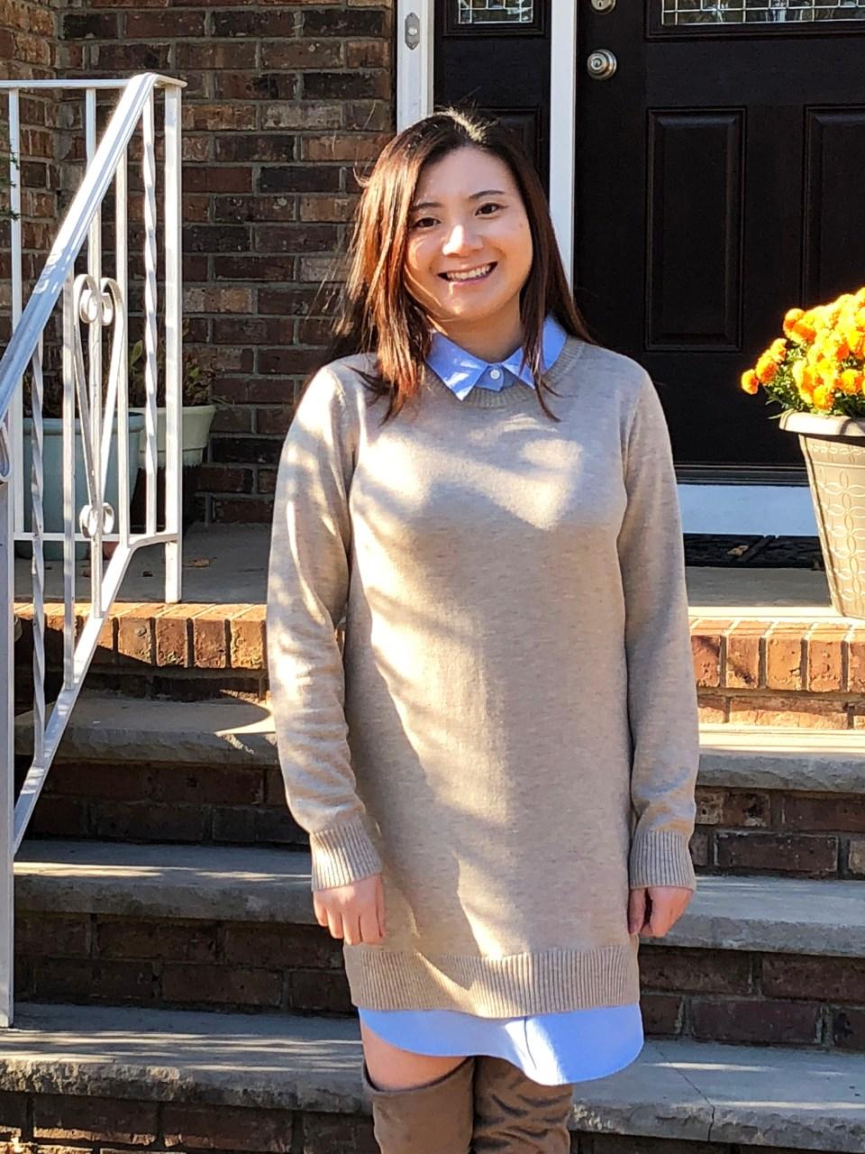 Oxford Blue Shirt Sweater Dress 7