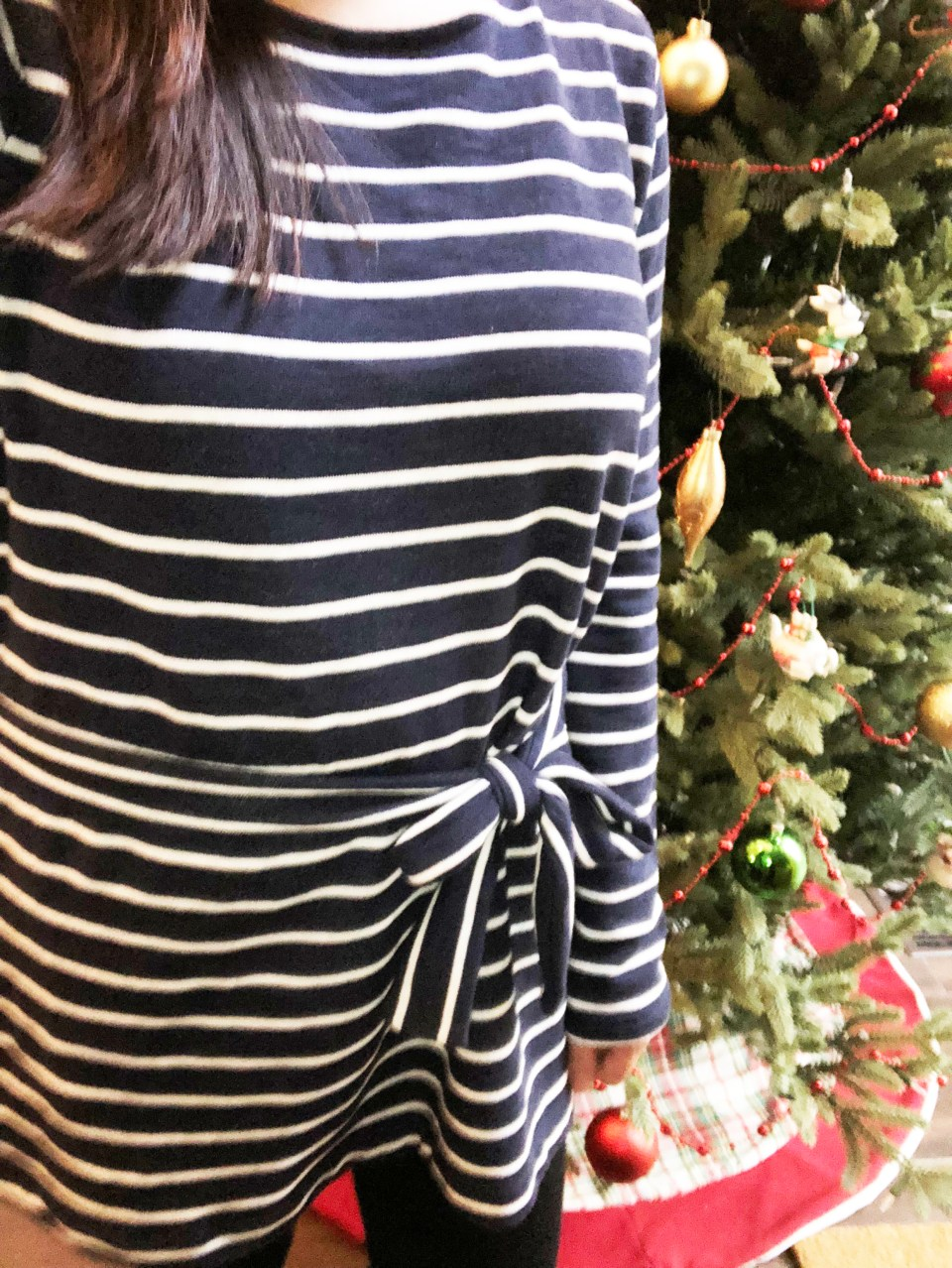 Blue & White Striped Belted Top 1