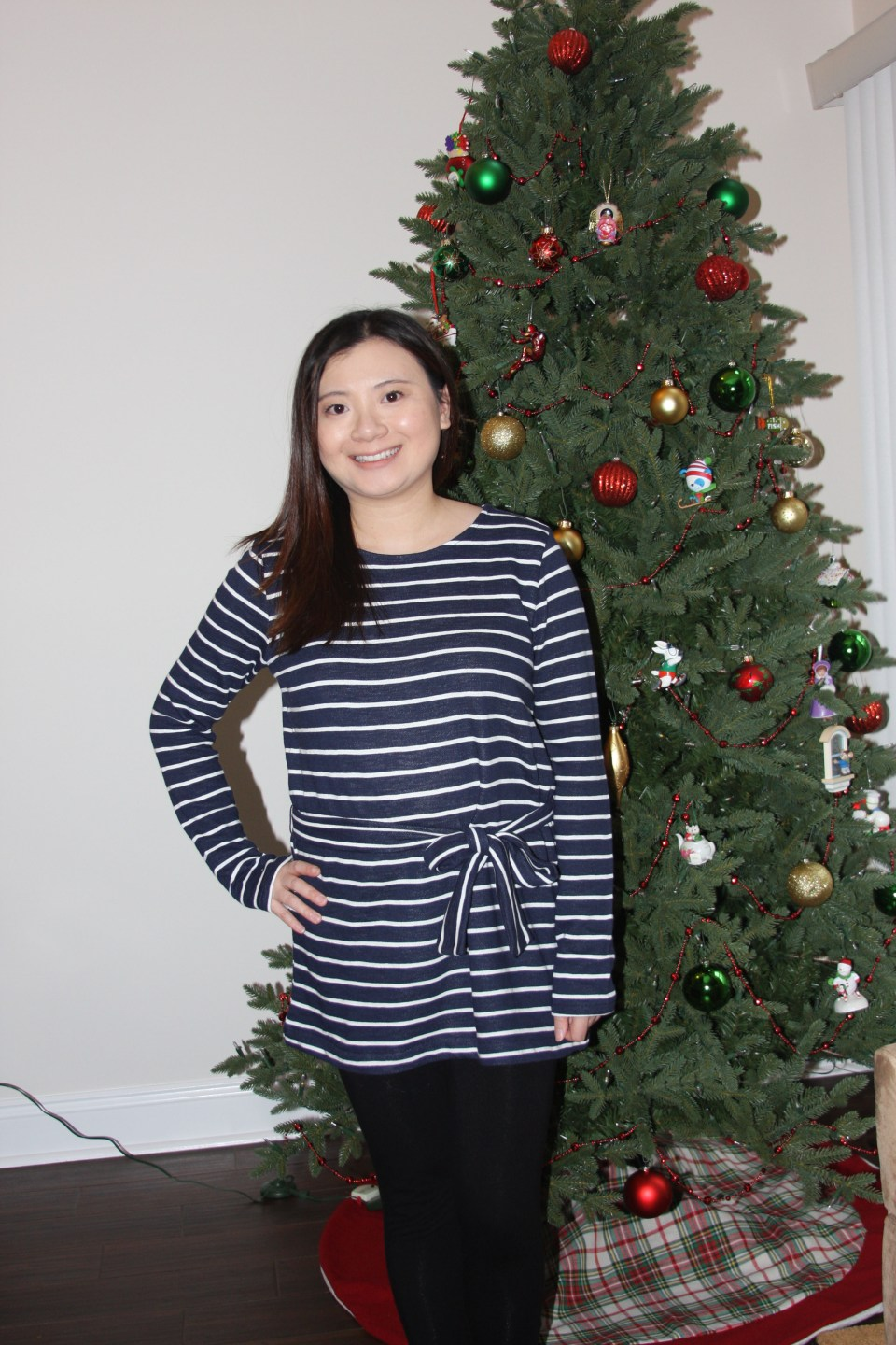 Blue & White Striped Belted Top 2