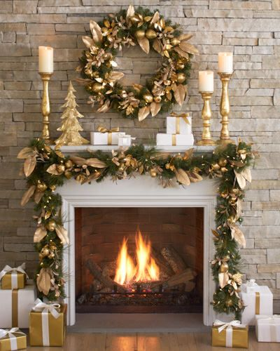 Gold Leaf - Christmas Mantel