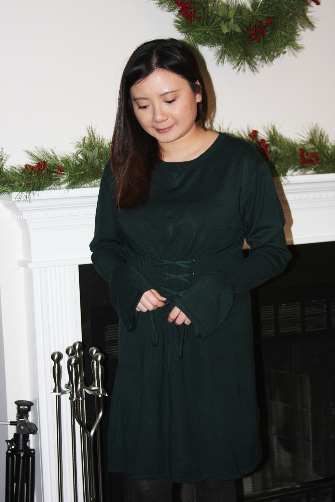 Green Corset Waist Sweater Dress