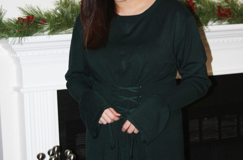 Green Corset Waist Sweater Dress