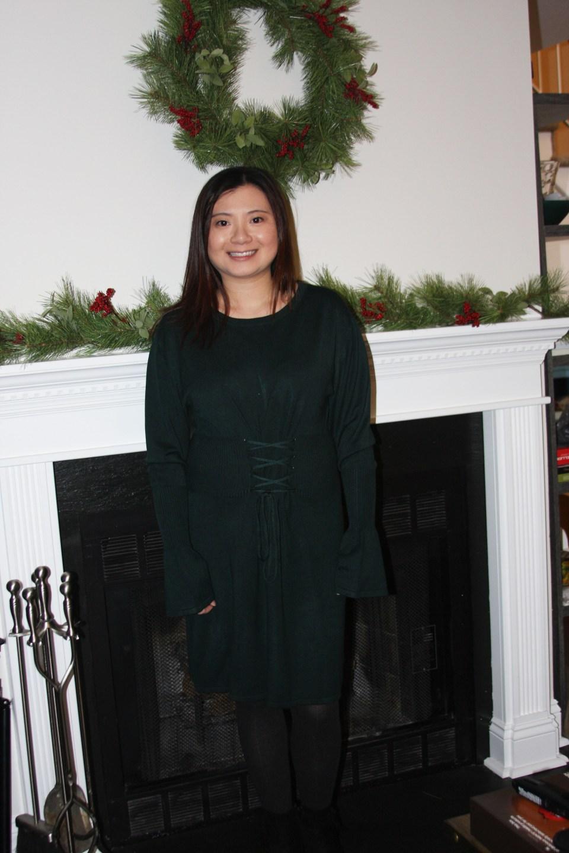 Green Corset Waist Sweater Dress 7