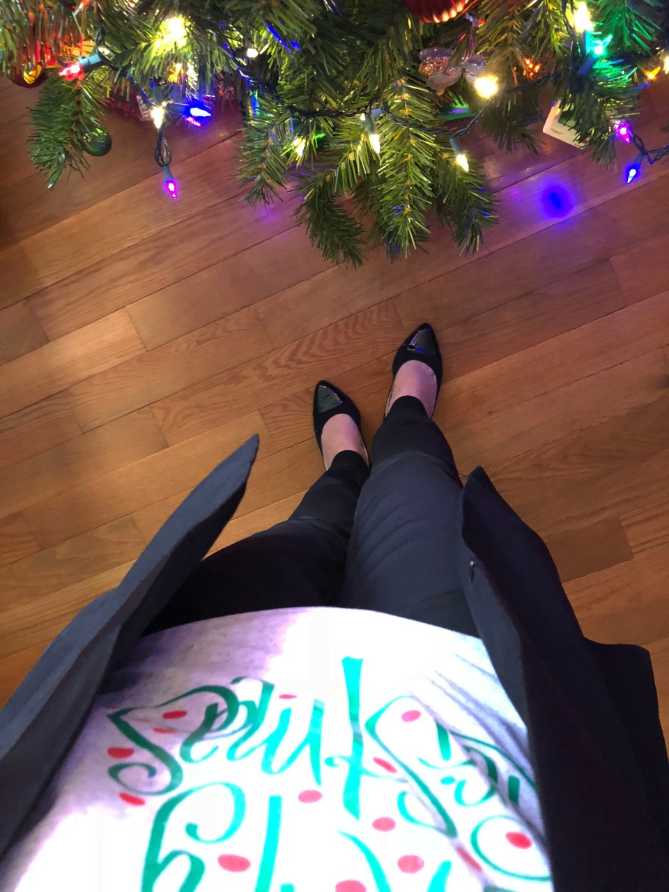 Merry Christmas tree tee + blazer cape 1