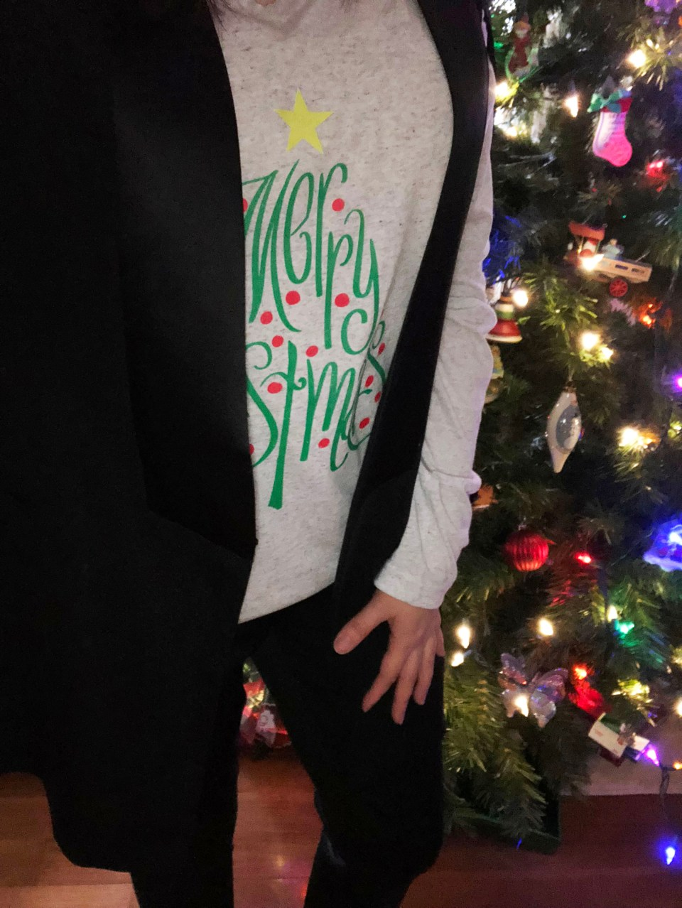 Merry Christmas tree tee + blazer cape