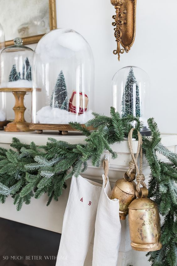 Snow Globe Cloches Christmas Mantel