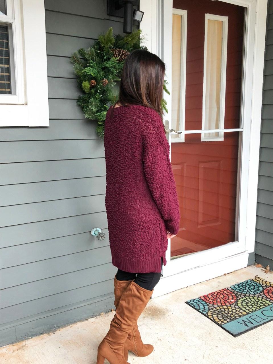 Burgundy Popcorn Sweater 12