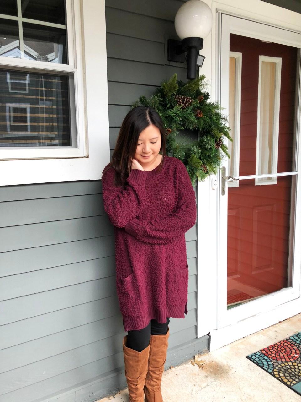 Burgundy Popcorn Sweater 6
