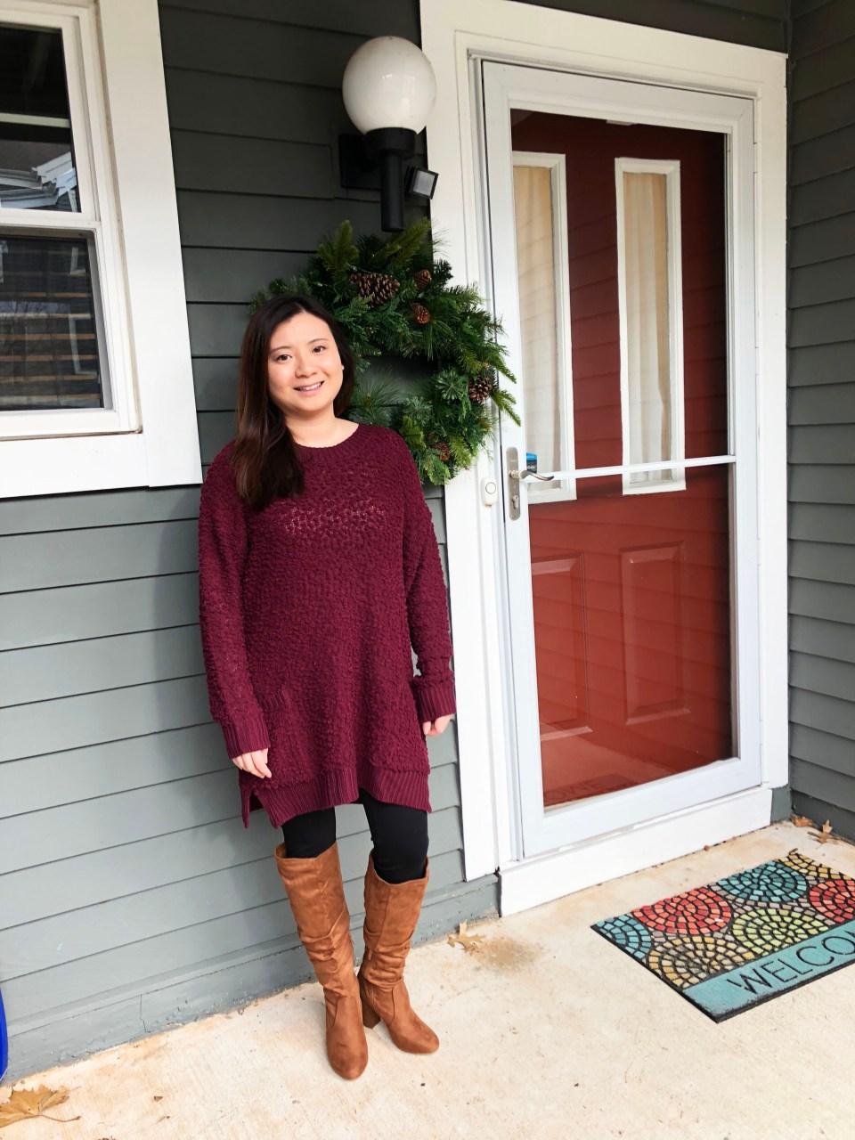 Burgundy Popcorn Sweater