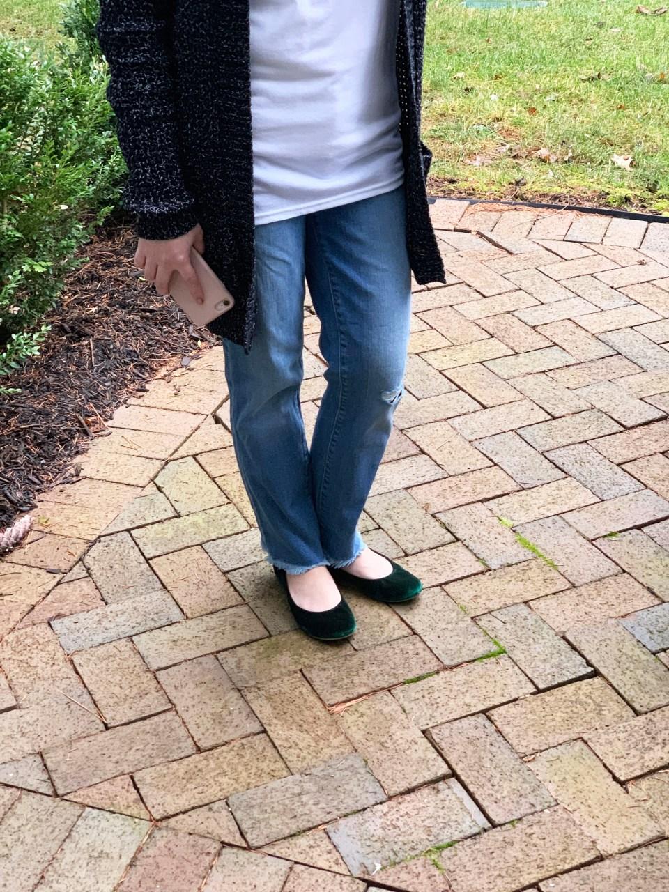 Edna - No Capes tee & Green Velvet Flats 3