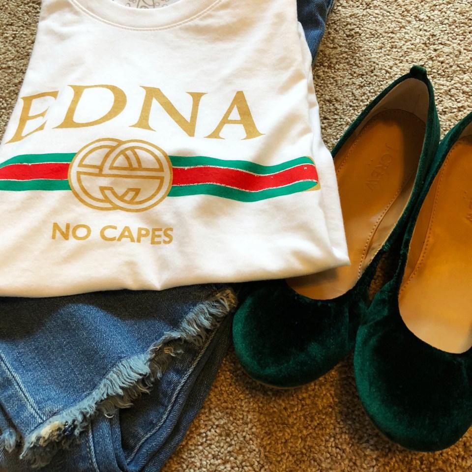 Edna - No Capes tee & Green Velvet Flats 6