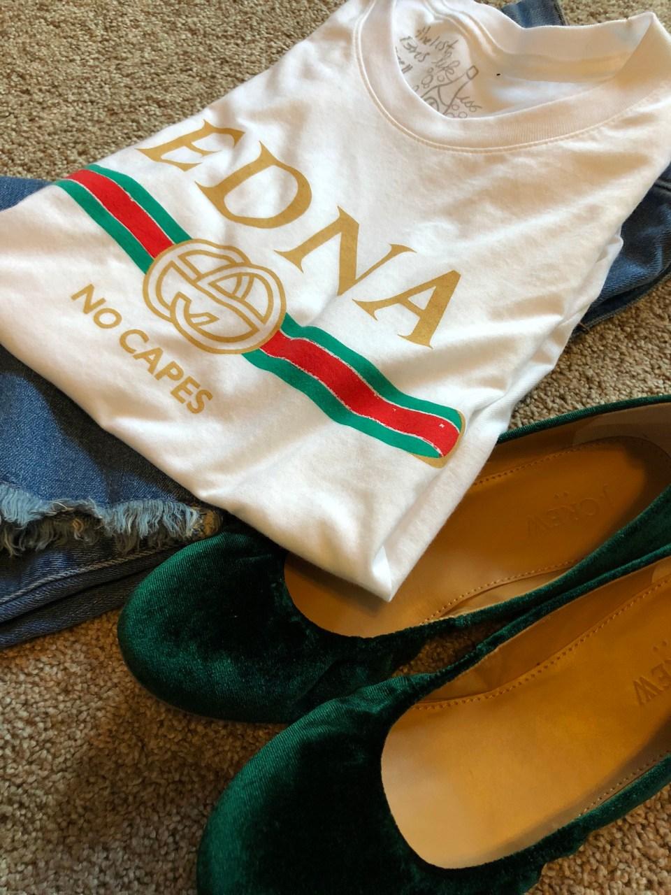 Edna - No Capes tee & Green Velvet Flats 7