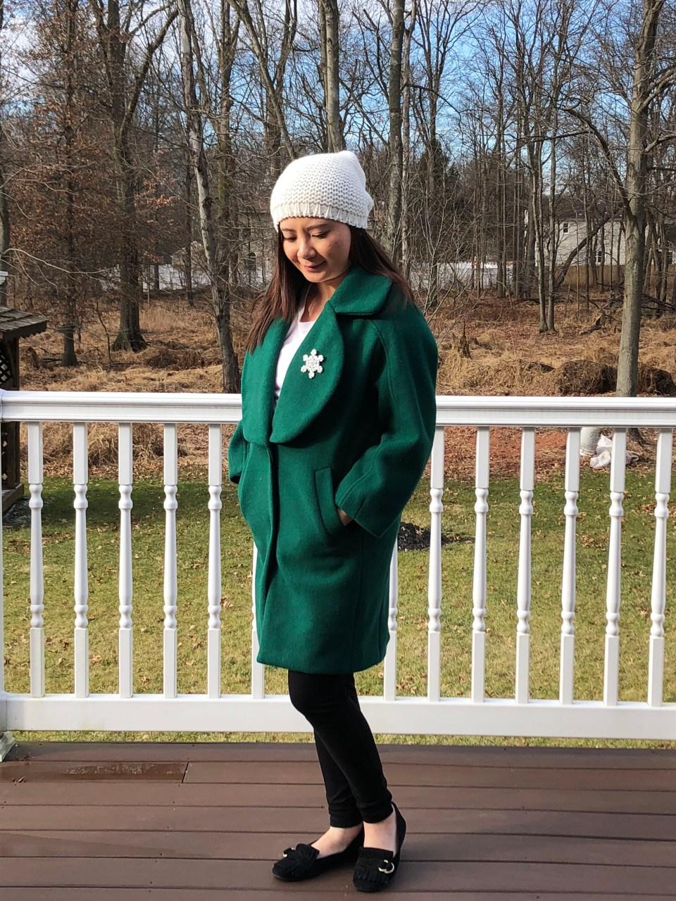 Green Lapel Coat + Snowflake Brooch 1